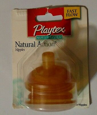 Playtex Natural Action Flat Top Latex Bottle Nipples Fast Flow Discontinued NEW