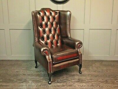 Chesterfield High Back Wing Chair In ANTIQUE OXBLOOD Leather
