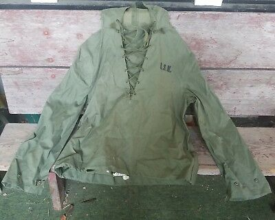 Vintage USN US Navy Foul Weather Hooded Pullover Poncho Jacket Sz Small