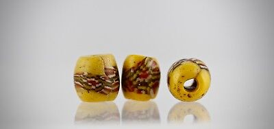 3 MEDIEVAL BEADS. Medieval checkerboard glass bead.100% Original artifacts.13