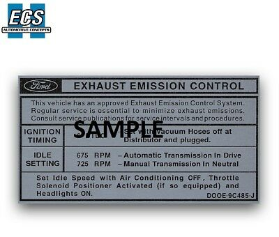 1965 FORD MUSTANG Hi-Po 289 Engine ID Decal Factory Exact
