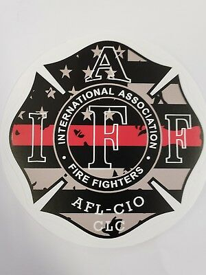 """4"""" IAFF Decal Exterior Mount Thin Red Line Flag Please Read Auction"""
