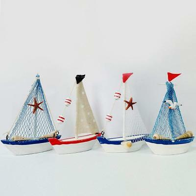 Wood Handmade Vintage Nautical Sailboat Ship Boat Model Decoration Set of 4