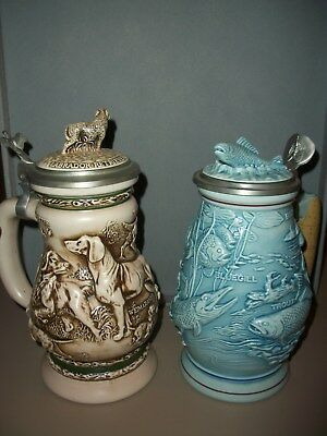 Lot of 2 Vintage Avon Beer Steins~Freshwater Fishing & Great Dogs of Outdoors