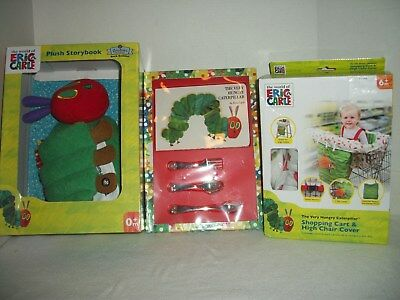 Eric Carle Very Hungry Caterpillar Baby Lot~Plush Storybook~Utensils~Chair Cover