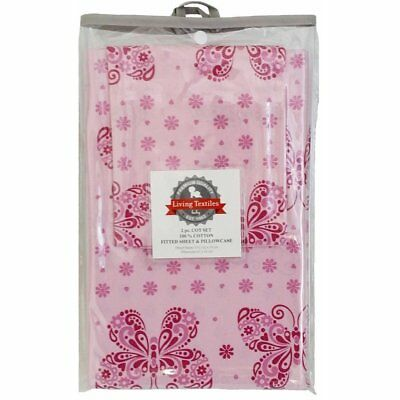 Living Textiles 2 Piece Cot Sheet Set Fitted Sheet & Pillowcase - Pink Butterfly