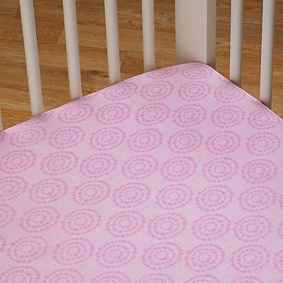 Living Textiles Cot Sheet Set Fitted Sheet - Surina Pink