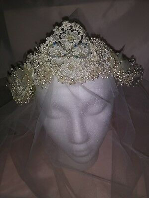 Bridal Floral Lace Beaded Headband With Crystals