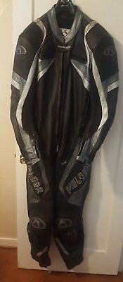 Fieldsheer one piece Track Suit Leather Black sliver Sz 44  Motorcycle Riding