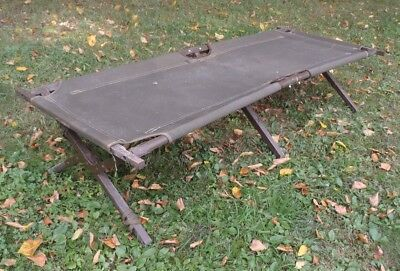 Vintage 1959 US Army Folding Canvas Wood Cot Green