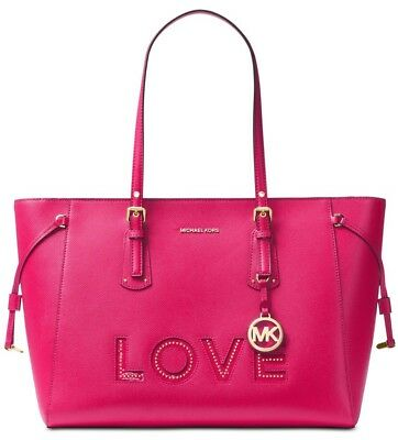 d559c26f4f31 New MICHAEL Kors Voyager Love Multifunction Top-Zip Tote studded bag leather