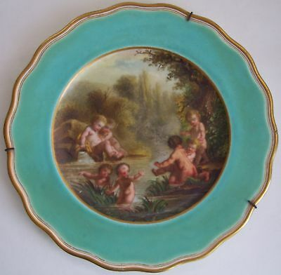 English Brown-Westhead Moore & Co. Cherubs Cabinet Plate c. 1868