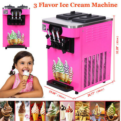 Commercial 3 Flavor Soft Ice Cream Maker Frozen Yogurt Machine 18L/H LCD Display