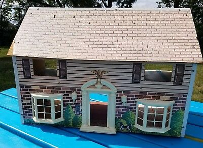 Vintage 1940s Masonite Wood Dollhouse 2 Story 5 Rooms Dog by Brumberger