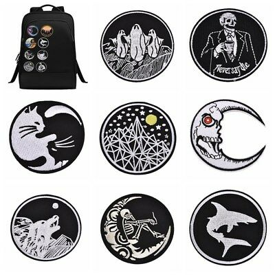 Punk Round Black & White Embroidery Patches Sew/Iron-on Badge Clothing Hats DIY