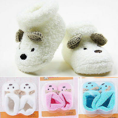 Baby Boy Girls Anti-Slip Socks Slipper Shoes Crip Animal Warm Newborn 0-12 Month