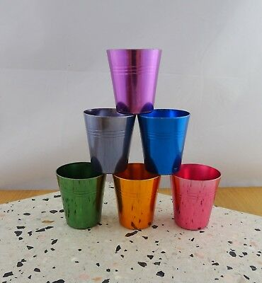 Set of 6 Vintage Anodised Harlequin Metal Shot Glasses Retro Picnic Cups