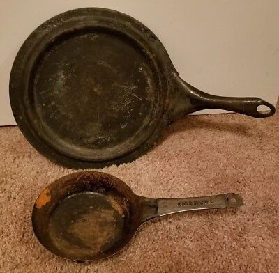 "Vintage Cabin Camp Kitchen 11 Inch Cast Iron Skillet Griddle & 6"" inchFrying Pan"