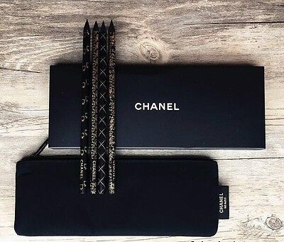 Chanel BEAUTE DE CRAYONS PENCIL (Set of 4 Pencil) With BLACK POUCH / BAG/ BOX