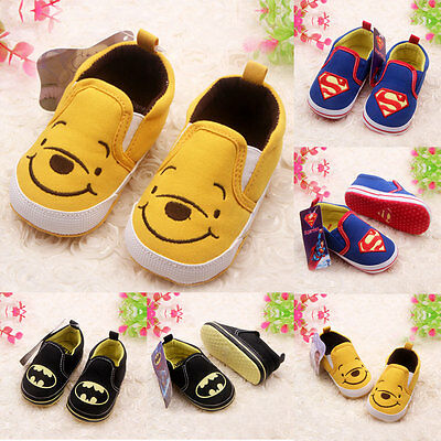 Toddler Newborn Cartoon Soft Crib Sole Baby Kids Girls Boy Prewalker Shoes 0-18M