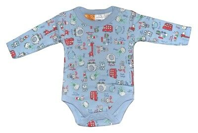 Charlie & Me Baby Boy Romper Long Sleeve Bodysuit - Blue Size Nb 000 00 0