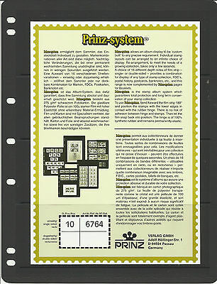 PRINZ 4 STRIP BLACK STAMP ALBUM STOCK SHEETS Pack of 10 - each Pocket 60mm High