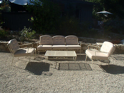 Vintage Woodard Outdoor Patio Porch Furniture Sofa, Two Arm Chairs, coffee table