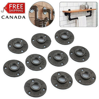 "10X Black Malleable 3/4"" Threaded Wall Floor Flange Cast Iron Pipe Fitting Cast"
