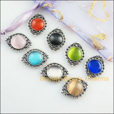 8Pcs Mixed Retro Tibetan Silver Cat Eye Stone Eyes Charms Connectors 14.5x20mm