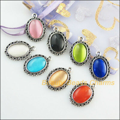 8Pcs Mixed Retro Tibetan Silver Cat Eye Stone Oval Charms Pendants 16.5x23mm