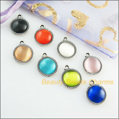 8Pcs Mixed Retro Tibetan Silver Cat Eye Stone Round Charms Pendants 12.5x15mm