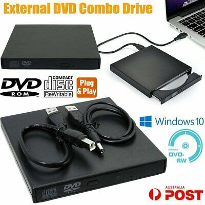 USB External DVD CD RW Disc Writer Burner Player Drive For PC Laptop Win 7 8 10