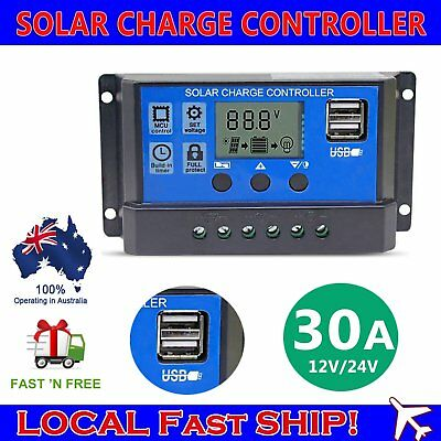 30A PWM 12V/24V Solar Panel Battery Regulator Charge Controller LCD Display