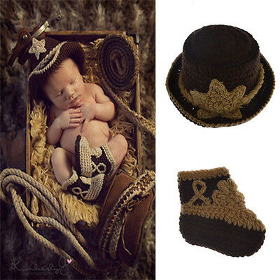 Fashion Baby Costume Crochet Knitted Cowboy Hat Outfits Photo Photography Props