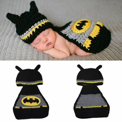Newborn Baby Crochet Beanie Costume Outfit Set Hat Photography Props 0-6 Months