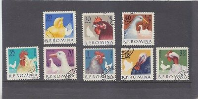 ROMANIA-1963-DOMESTIC POULTRY SET-SG 3012-3019-CTO-HINGE REMAINS-$4.50-freepost