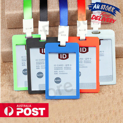 2x Plastic Business Badge ID Card Holder Vertical Security Pass With Lanyard AU