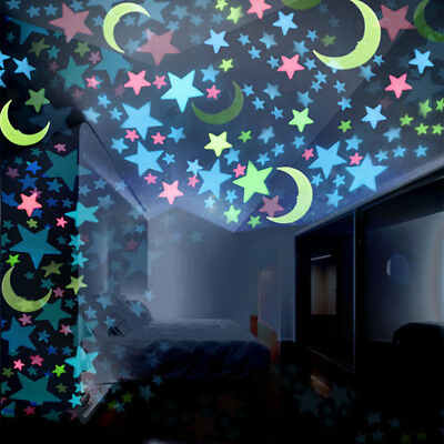 100PCS Kids Bedroom Fluorescent Glow In The Dark Stars Moons Wall Stickers