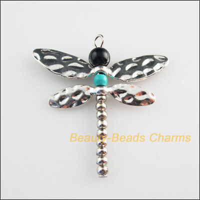 2 New Charms Glass Round Animal Dragonfly Pendants Tibetan Silver Tone 41.5x44mm