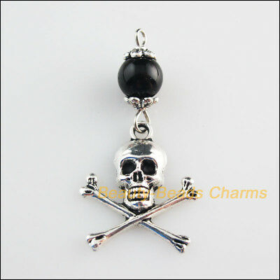 6 New Charms Black Glass Round Beads Halloween Skull Pendant Tibetan Silver Tone