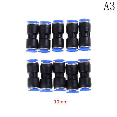10 PCS 10mm Pneumatic Air Quick Push to Connect Fitting Straight Tube ##