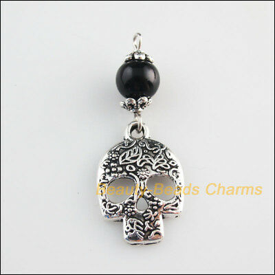 5 New Charms Black Glass Round Bead Halloween Skull Pendant Tibetan Silver Tone