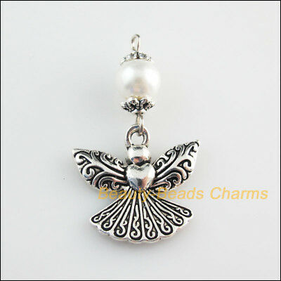 4 New Charms White Glass Round Beads Angel Pendants Tibetan Silver Tone