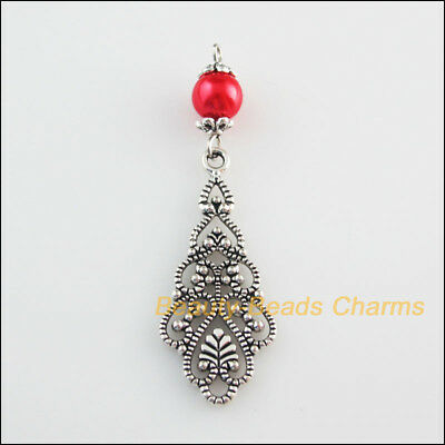 2 New Charms Red Glass Round Beads Flower Clouds Pendants Tibetan Silver Tone