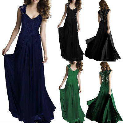 US Women Long Maxi Formal Wedding Evening Ball Gown Party Prom Bridesmaid Dress