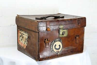 Antique British Leather Shipping Case Travel Trunk Large Hat Box Interior Design