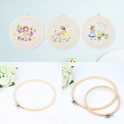 Wood Cross Stitch Embroidery Hoop Ring Bamboo Frame DIY Art Craft Supply 13-34CM