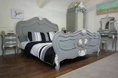 French Charroux King Size Bed In Mercury Grey & White - Shabby Chic Style Bed