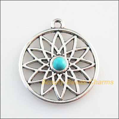 2 New Retro Charms Tibetan Silver Tone Turquoise Flower Round Pendants 26x29mm