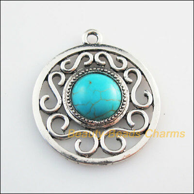 2 New Charms Round Flower Turquoise Tibetan Silver Tone Pendants 36x41mm